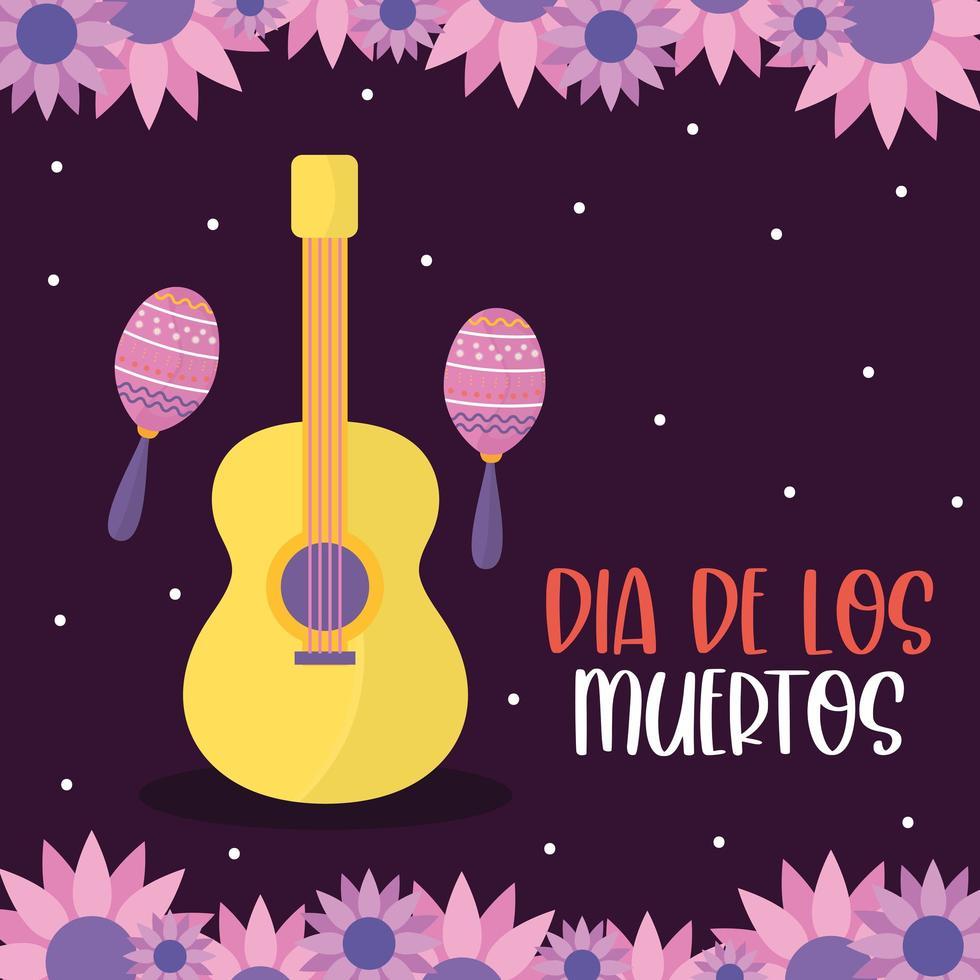 mexikanischer Tag der toten Gitarre mit Maracas und Blumenvektorentwurf vektor
