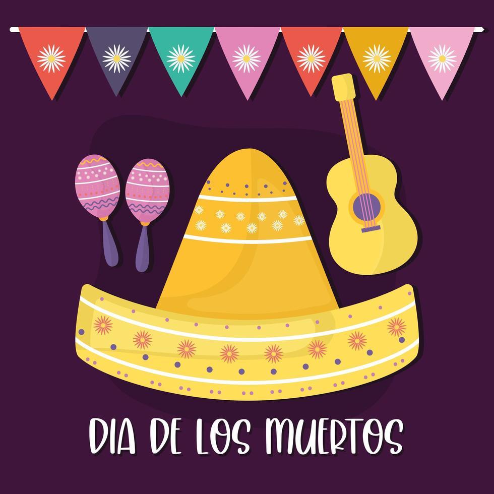 mexikanischer Tag der toten Maracas, Sombrero-Hut und Gitarrenvektorentwurf vektor