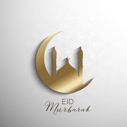 Minimilistisk Eid Mubarak bakgrund vektor