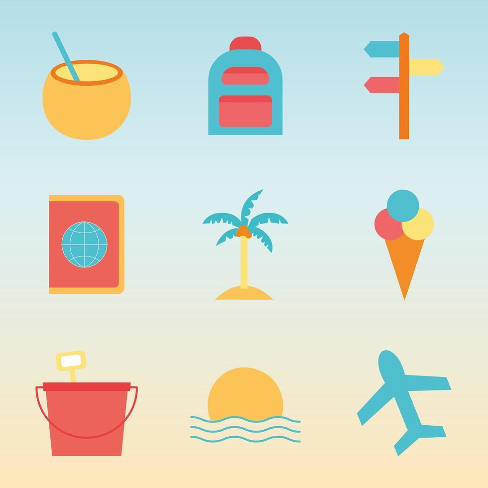 Sommer Flat Style Icon Set vektor
