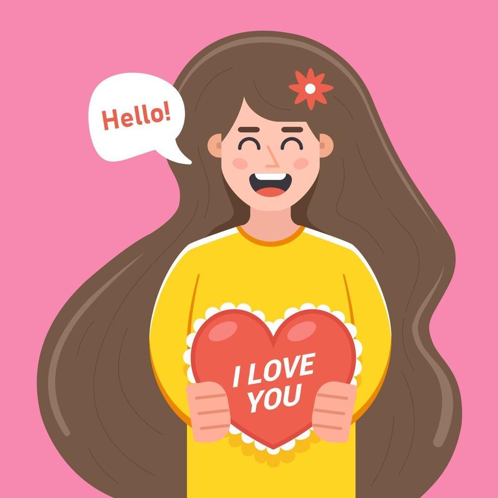 Mädchen gibt eine Karte zum Valentinstag. flache Zeichenvektorillustration vektor