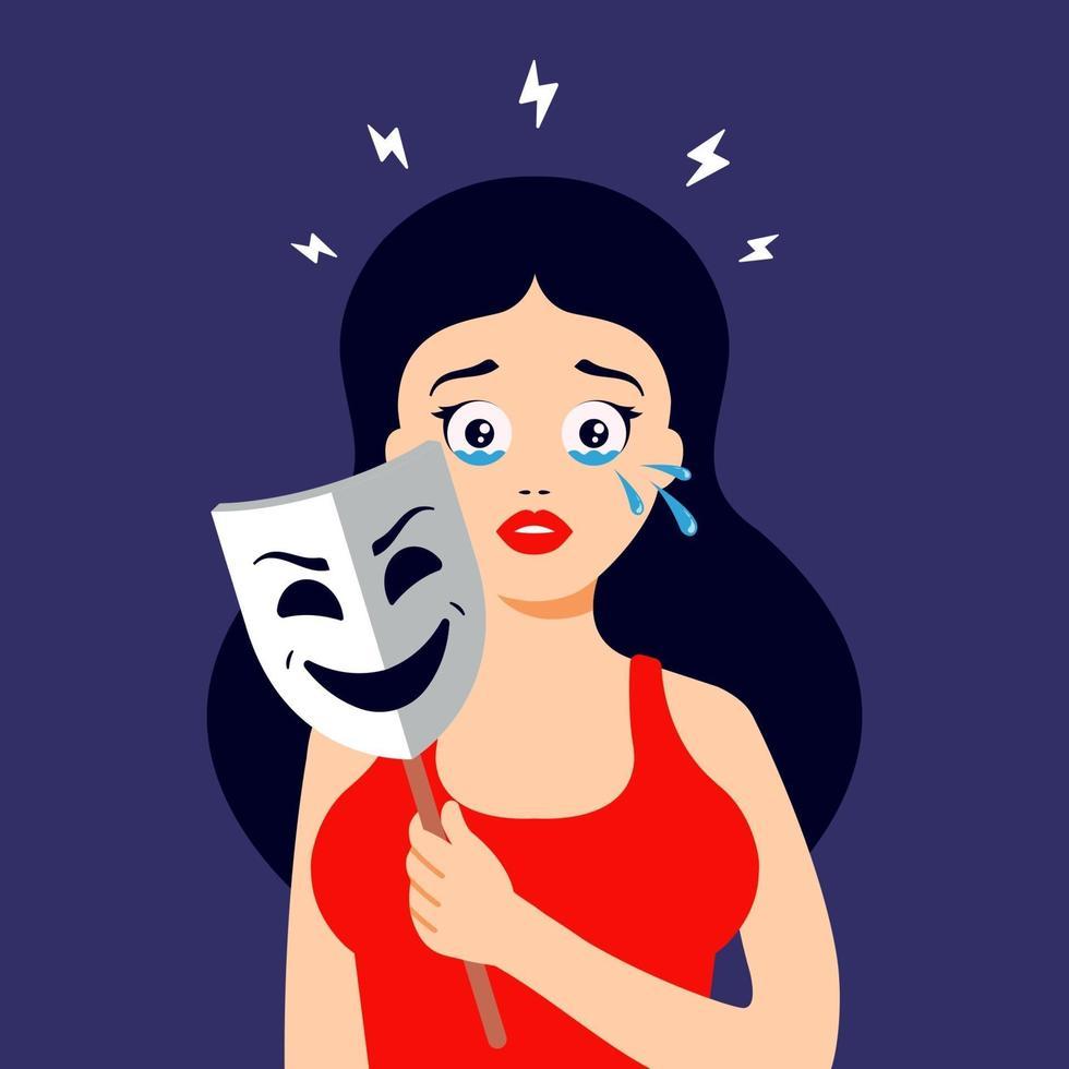 Das Mädchen versteckt ihre Tränen hinter einer lächelnden Maske. emotionale Krise. flache Zeichenvektorillustration. vektor