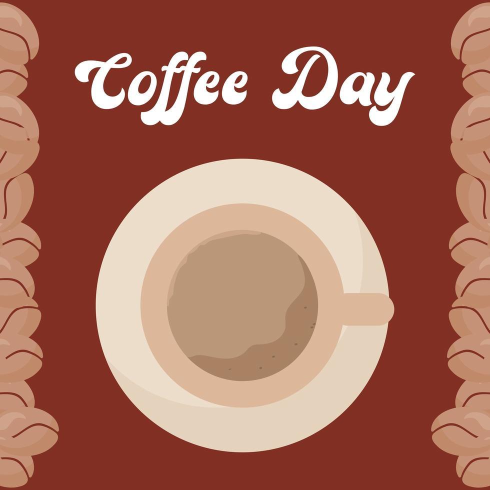 Kaffeetag mit Top View Tasse vektor