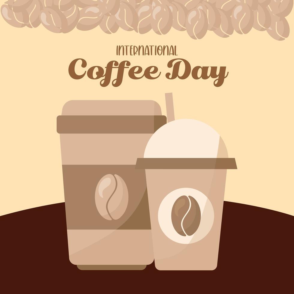 internationaler Kaffeetag mit gefrorenen und heißen Bechern mit Bohnenvektorentwurf vektor