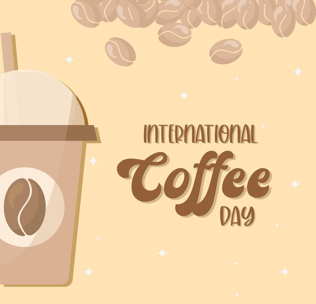internationaler Kaffeetag mit Eiskaffee und Bohnen Vektordesign vektor