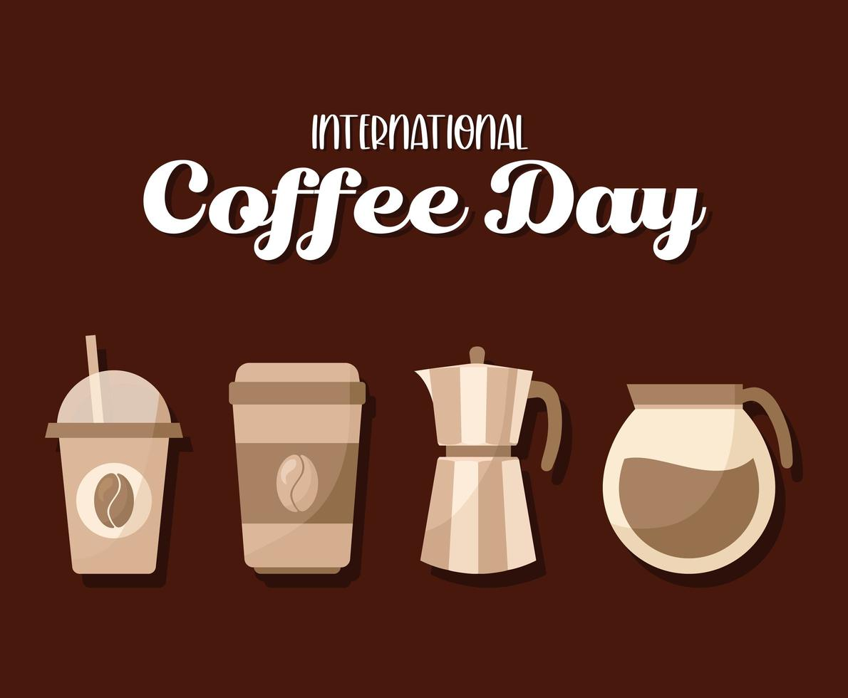 internationaler Kaffeetag mit Ikonen vektor