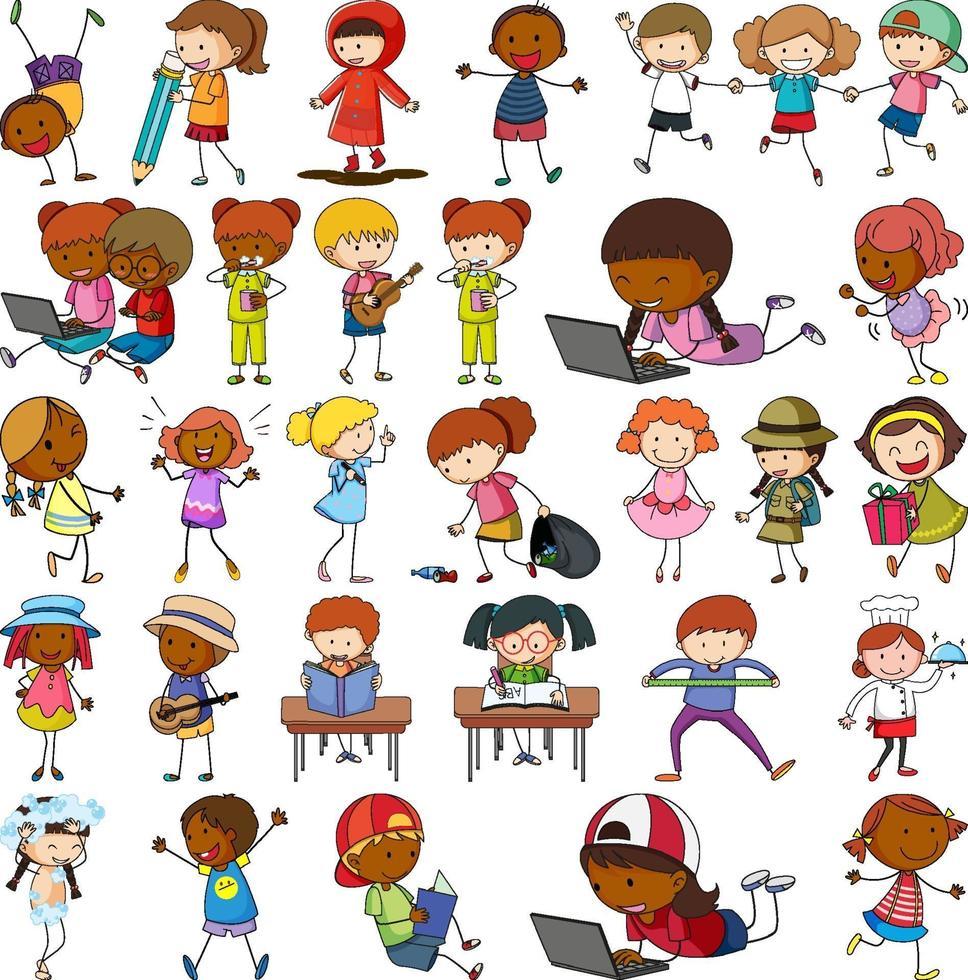 uppsättning av olika doodle barn seriefigurer isolerade vektor