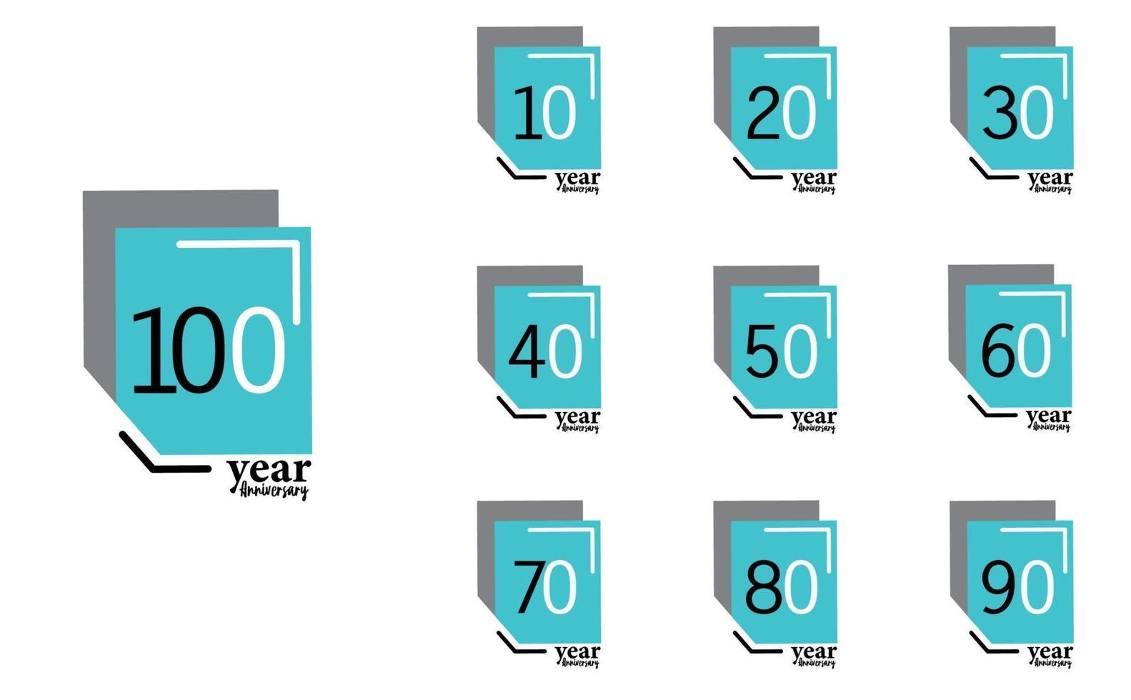 Jahr Jubiläum Vektor Vorlage Design Illustration blaue Box eleganten weißen Hintergrund