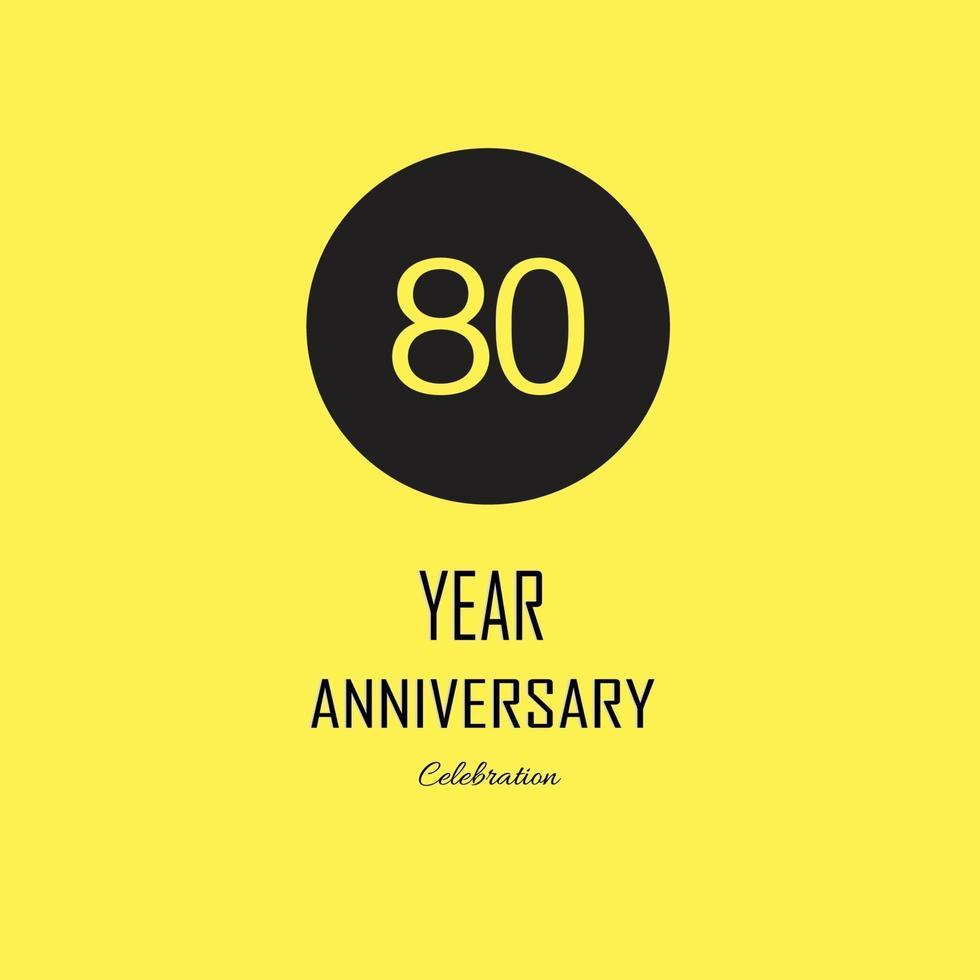 Jubiläumsfeier auf gelbem Hintergrund. Vektor festliche Illustration. Geburtstag oder Hochzeitsfeier Event Dekoration