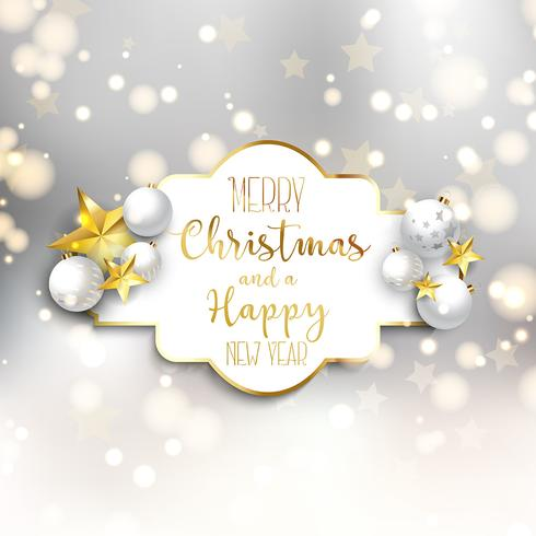 Jul och nyårsbakgrund med dekorationer vektor
