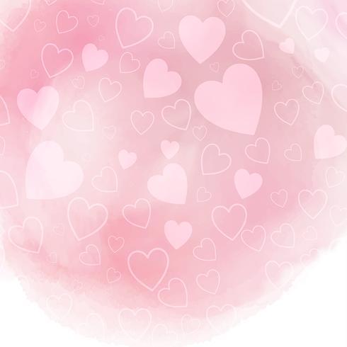 Akvarell hjärtan bakgrund vektor