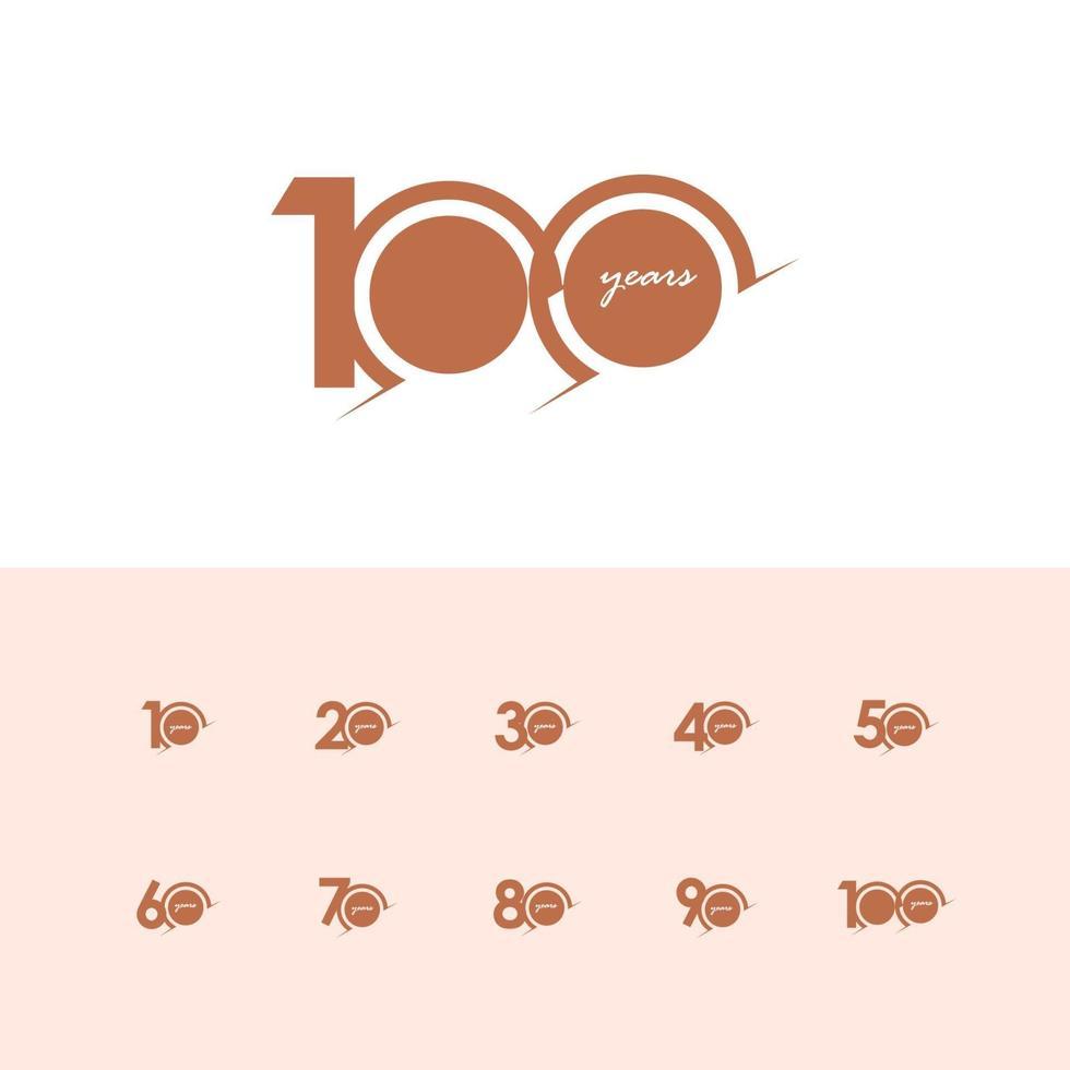 100 Jahre Jubiläumsfeier Nummer Vektor Vorlage Design Illustration