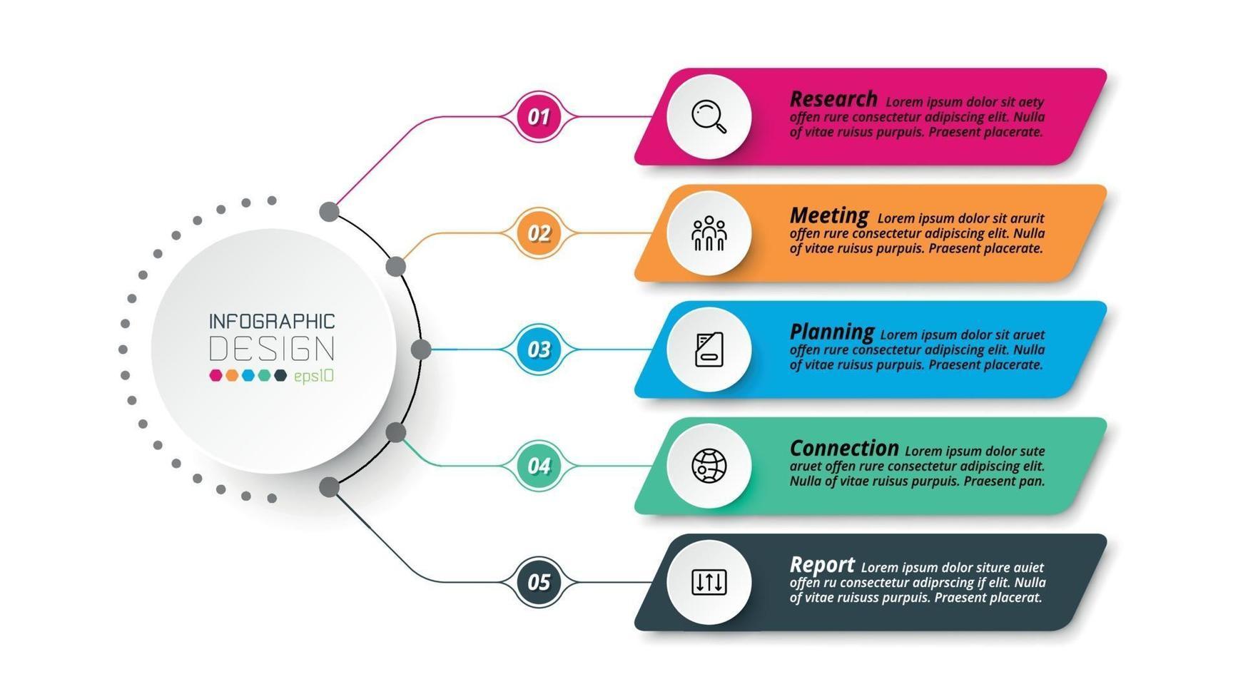 affärs- eller marknadsföringsdiagram infografisk mall. vektor