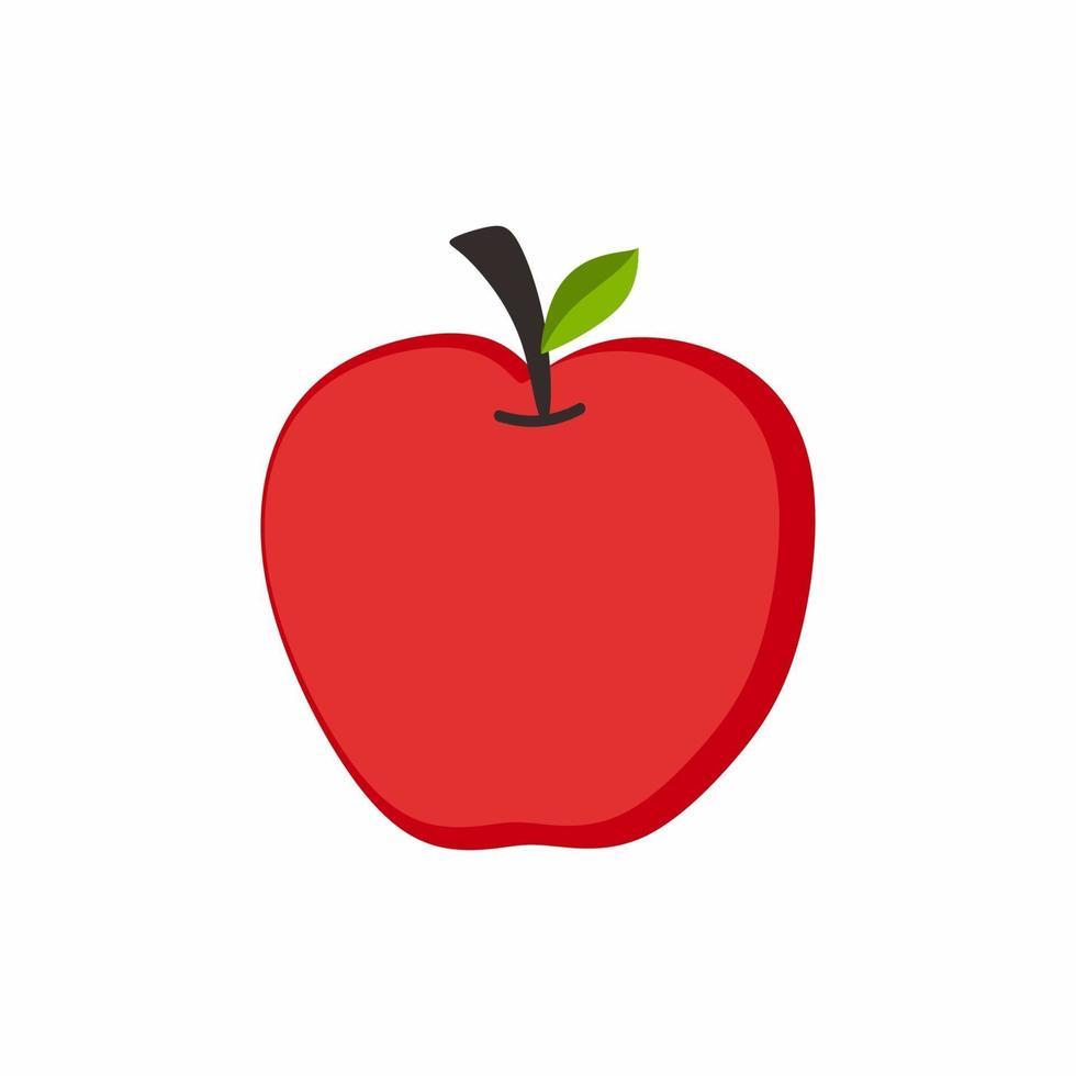 rote Apfelfrucht mit einem Blatt. frisches tropisches Fruchtkonzept für Obstgartenikone. organische Karikatur der flachen Äpfel der gesunden Äpfel lokalisiert auf weißem Hintergrund. Vektorillustration vektor