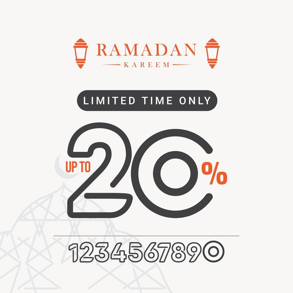 Ramadan-Verkaufsrabatt bis zu 20 zeitlich begrenzte Vektorschablonen-Designillustration vektor