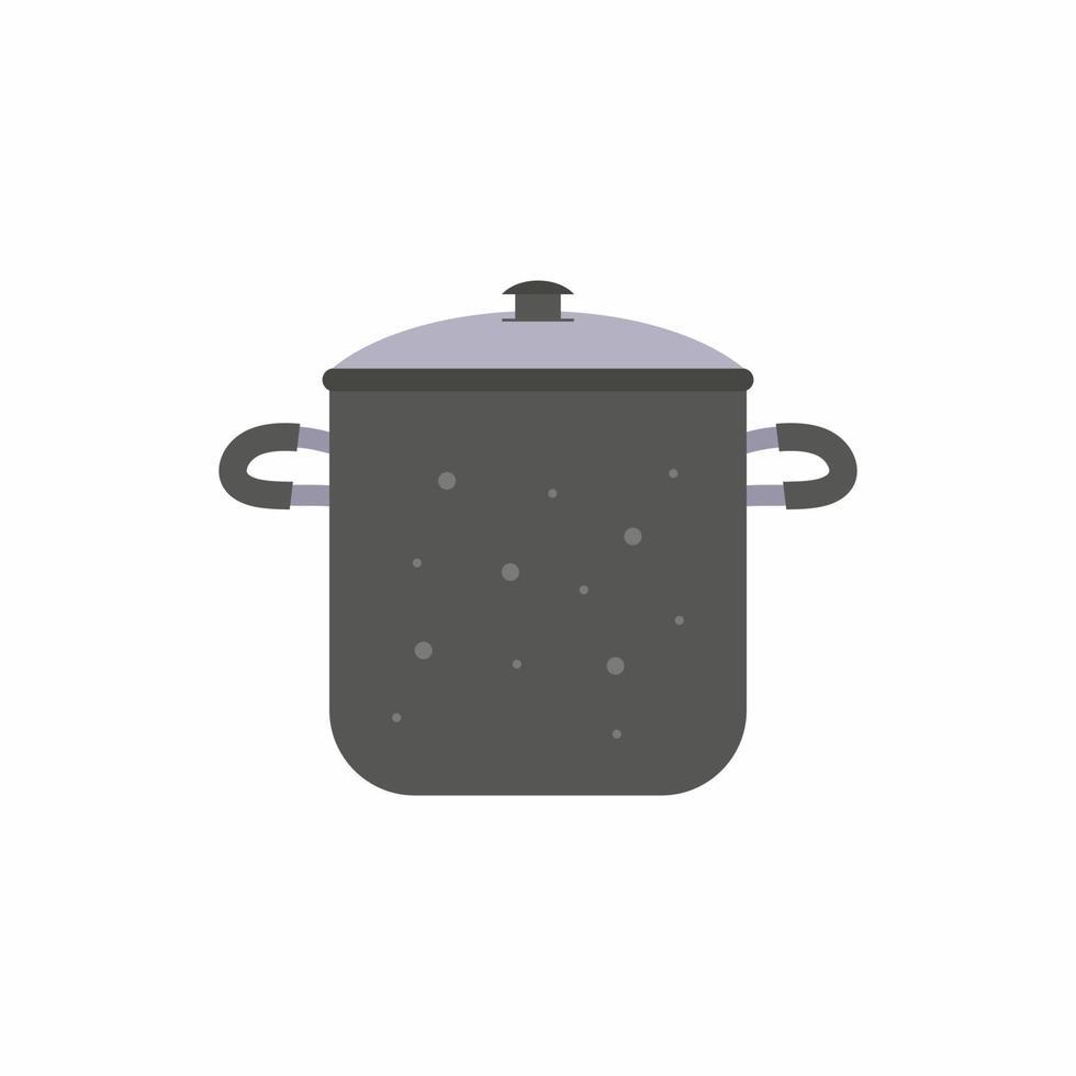 Topf flache Design-Stil Vektor-Cartoon. Geschirr ClipArt des Küchengeschirrs auf weißem Hintergrund. Kochpfanne vorbereiten Griff Metallpfanne Cartoon. Küchengeräte Töpfe vektor