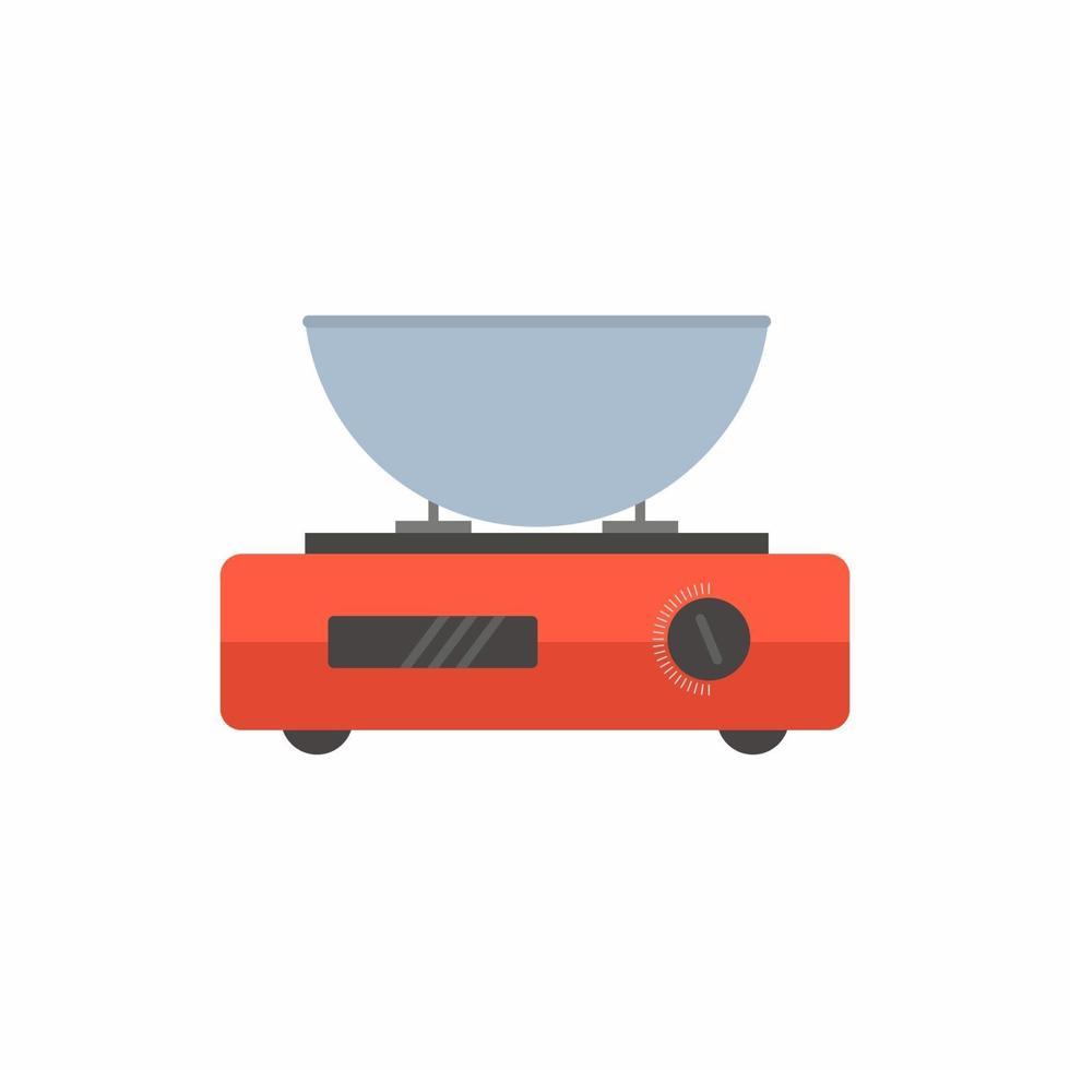 in einer Pfanne kochen. ein Kochtopf auf lokalisiertem Bild des Ofens auf weißem Hintergrund. Kochkonzept. flache Cartoon-Design-Grafikelemente. Vektorillustration vektor