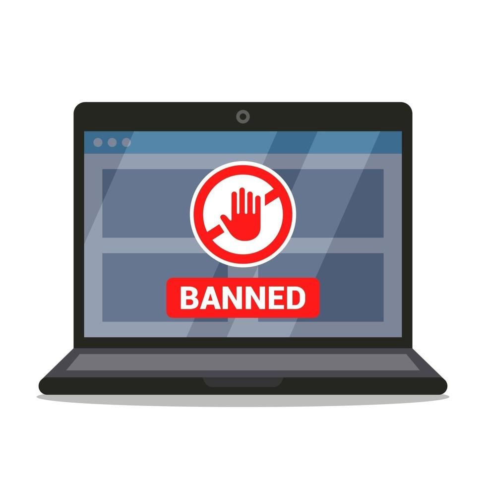 Verbotsschild auf dem Bildschirm des Laptops. flache Vektorillustration. vektor