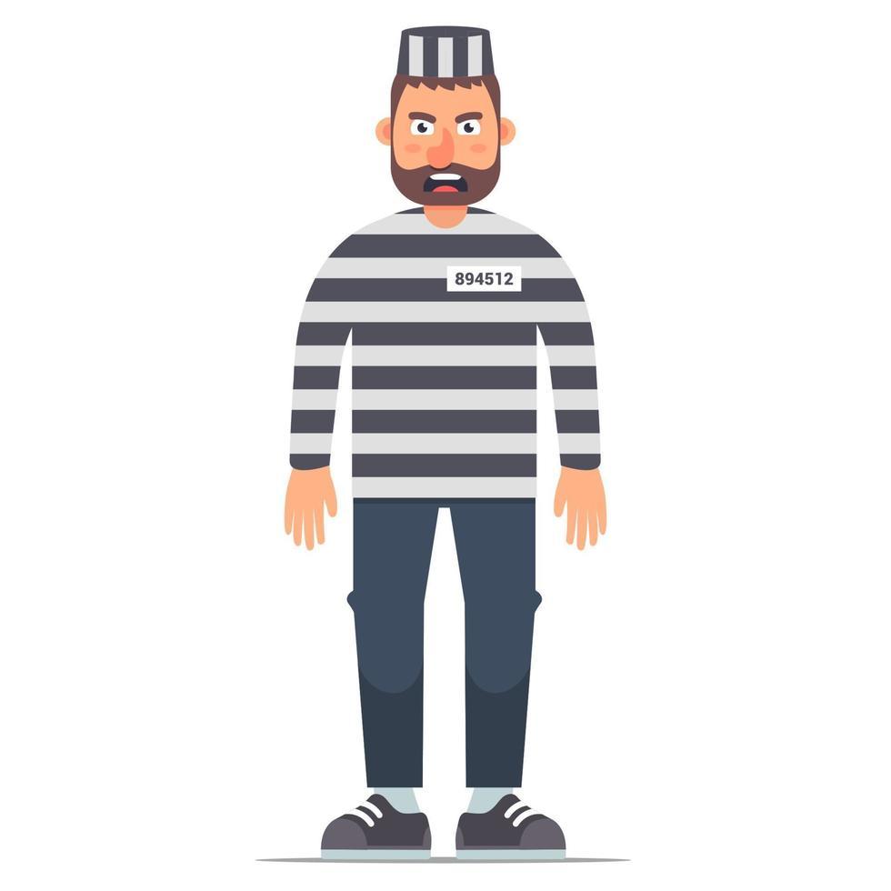 in voller Länge isolierter Gefangener in gestreifter Kleidung auf weißem Hintergrund. flache Vektorillustration des Charakters im Gefängnis. vektor