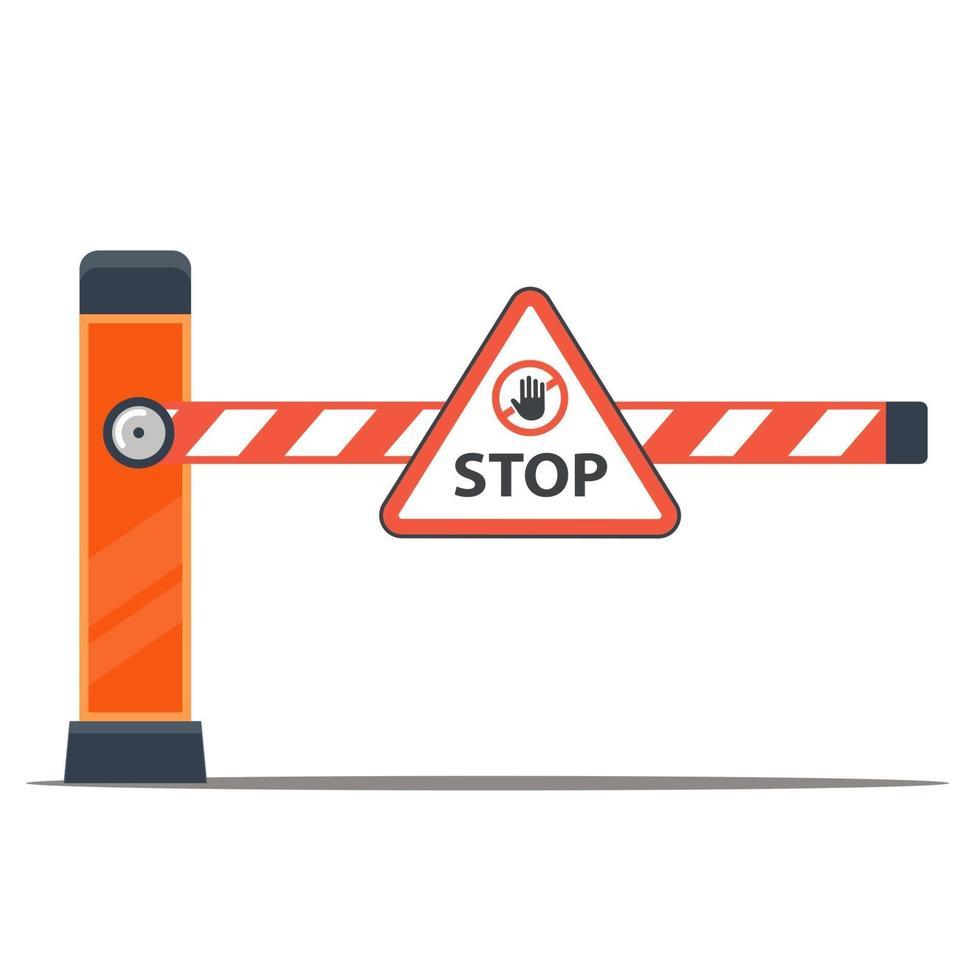 Barriere, um Autos zu stoppen. Grenzposten. flache Vektorillustration. vektor