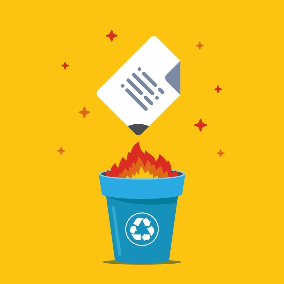 Brennen Sie das Dokument in den Papierkorb. Daten zerstören. flache Vektorillustration. vektor