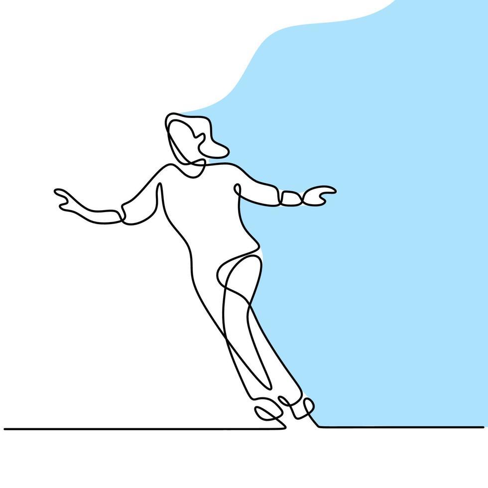 kontinuerlig linje ritning av skridsko tjej. vacker kvinna som spelar skridskoåkare medan man dansar i isområdet isolerad på vit bakgrund. vinter utomhusaktiviteter koncept handritad minimalism design vektor