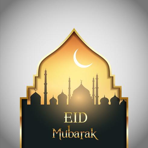 Eid Mubarak landskaps bakgrund vektor