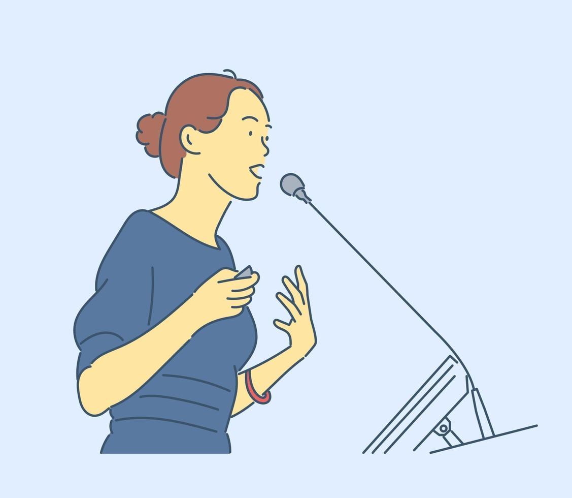 affärskvinna eller chef koncept. ung affärskvinna, företagschef, ledarchef lutar sig tillbaka och funderar på projektet. vektor