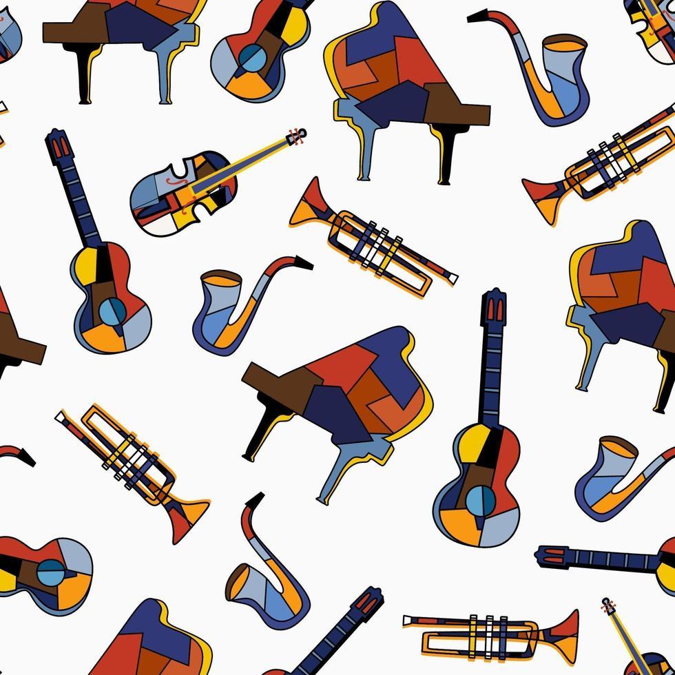 nahtlose Musikinstrumente auf weißem Hintergrund. Musikmuster von Klavier, Gitarre, Cello, Trompete, Saxophon. flacher Vektorentwurf für Musikfestival. das Konzept mit Musikausrüstung gesetzt vektor
