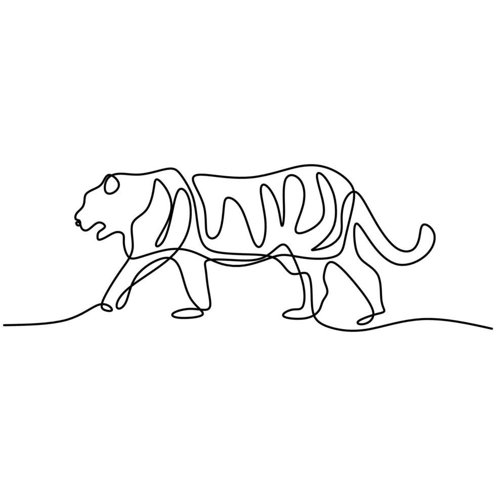 tiger en linje ritning isolerad på vit bakgrund. vilda djur tiger går i djungeln. vilda livskoncept. minimalistisk konturdjurdesign. vektor skiss illustration