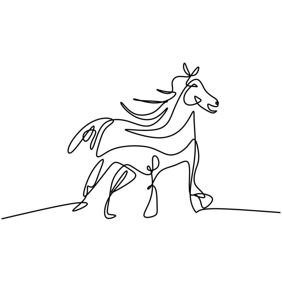 en linje häst hand ritning konst. stående vild häst för logotyp, kort, banner, affisch, flygblad isolerad på vit bakgrund. elegans däggdjur djur minimalism design. vektor illustration