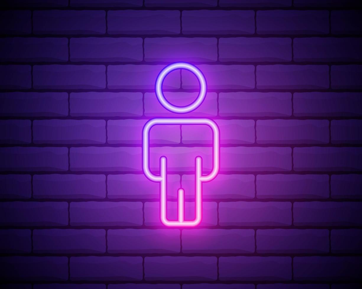 manlig silhuett neonljus ikon. herrar wc dörr glödande tecken. varuhus för herrkläder. vektor isolerad illustration isolerad på tegelvägg