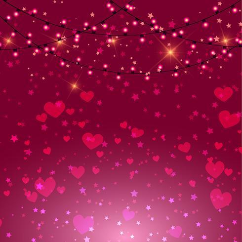 Alla hjärtans dag bakgrund med hjärtan och ljus vektor