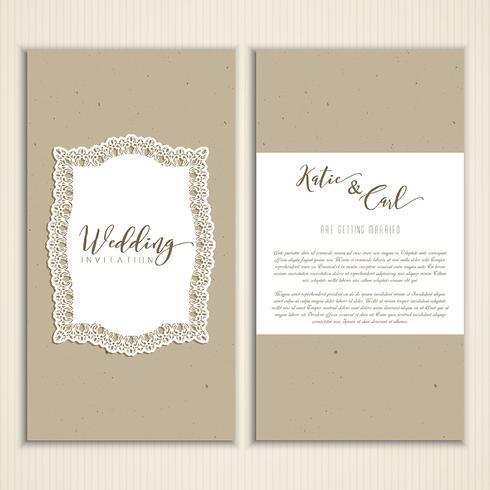 Papp-Stil Hochzeit einladen vektor