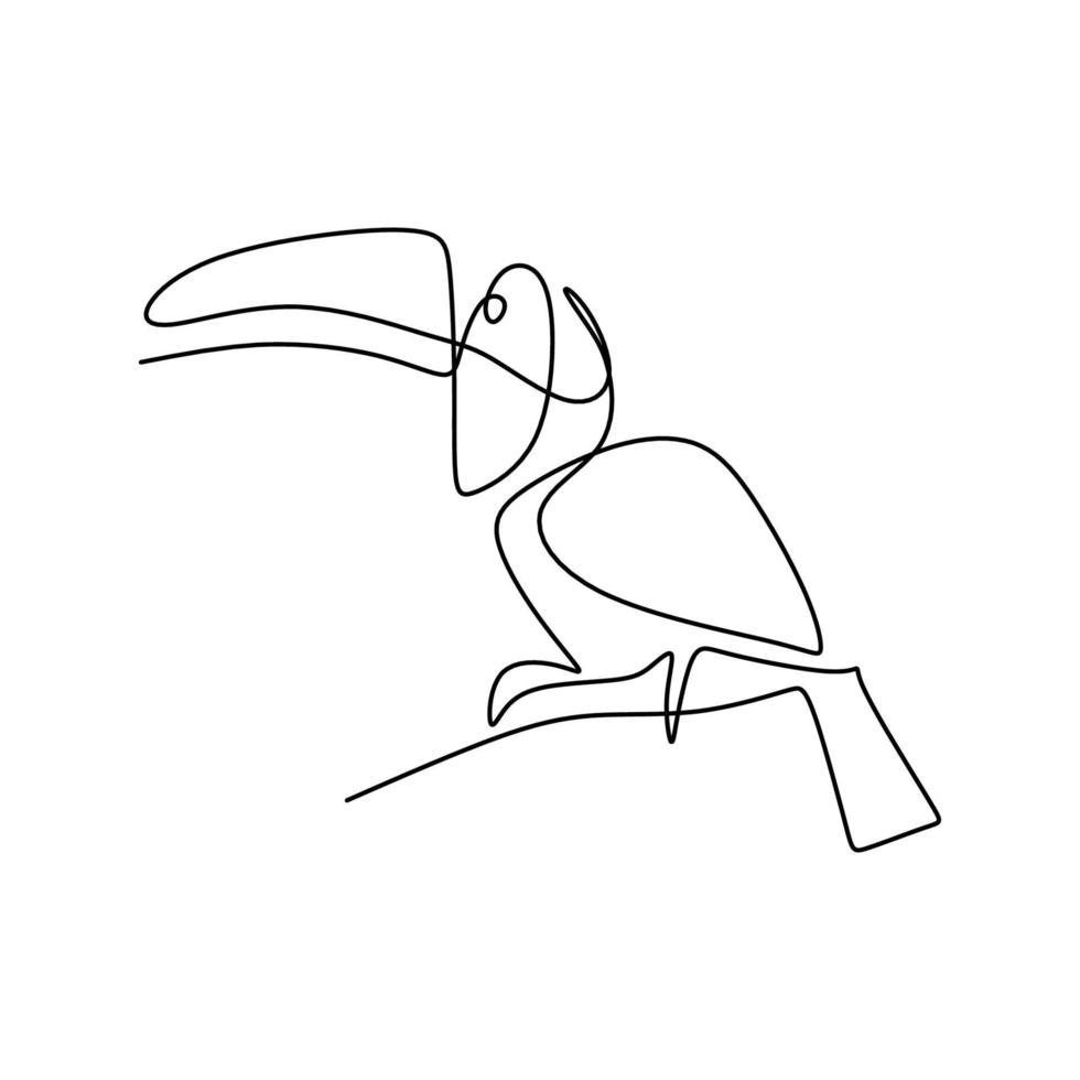 enda kontinuerlig linje ritning av bedårande tukanfågel med stor näbb. exotiska djur maskot koncept för national bevarande park ikon. logotyp identitet. hotat djur. vektor design illustration
