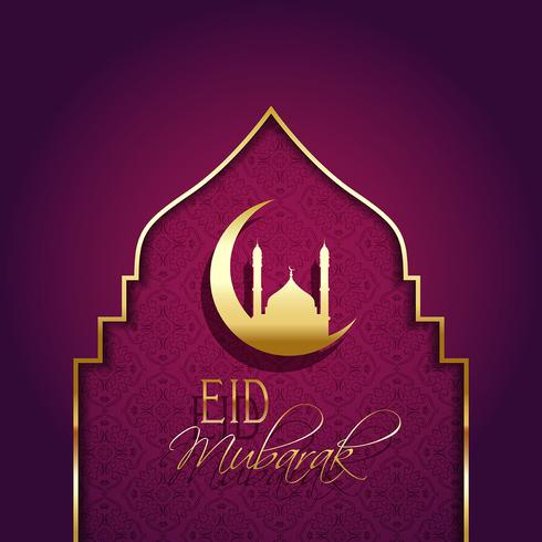 Eid mubarak bakgrund med dekorativ typ vektor