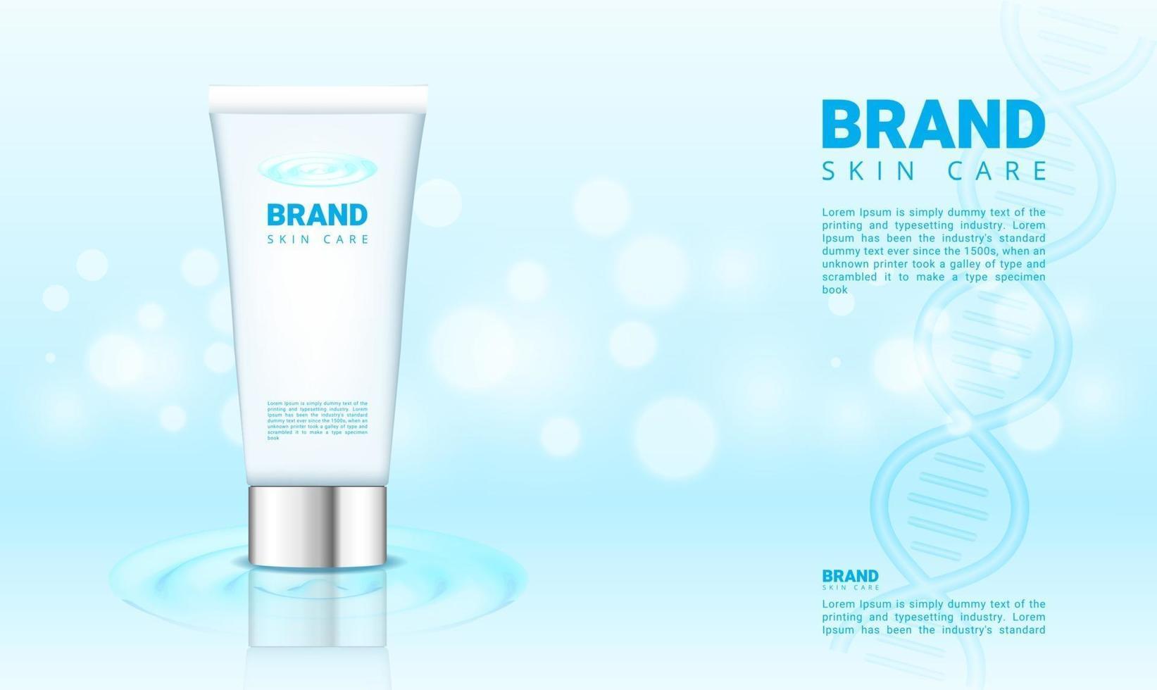 blaues Wasser und bokeh Hintergrund für Kosmetikprodukt mit 3d Verpackungsvektorillustration vektor