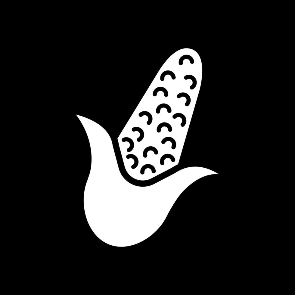 Kornohr im dunklen Modus Glyphensymbol vektor