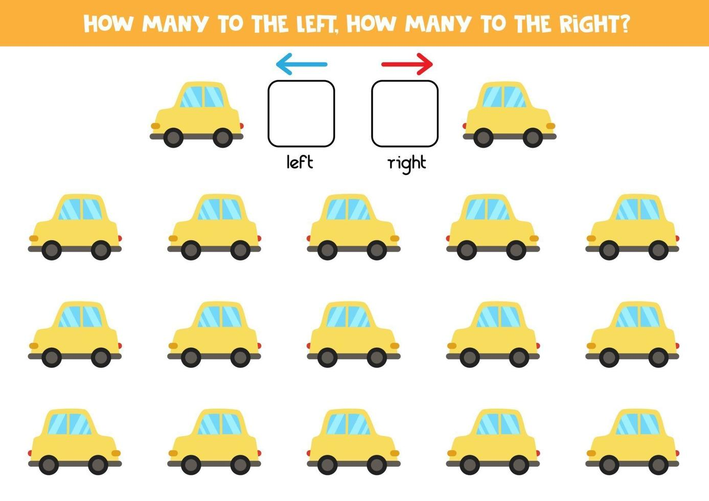 vänster eller höger med bil. logiskt kalkylblad för förskolebarn. vektor