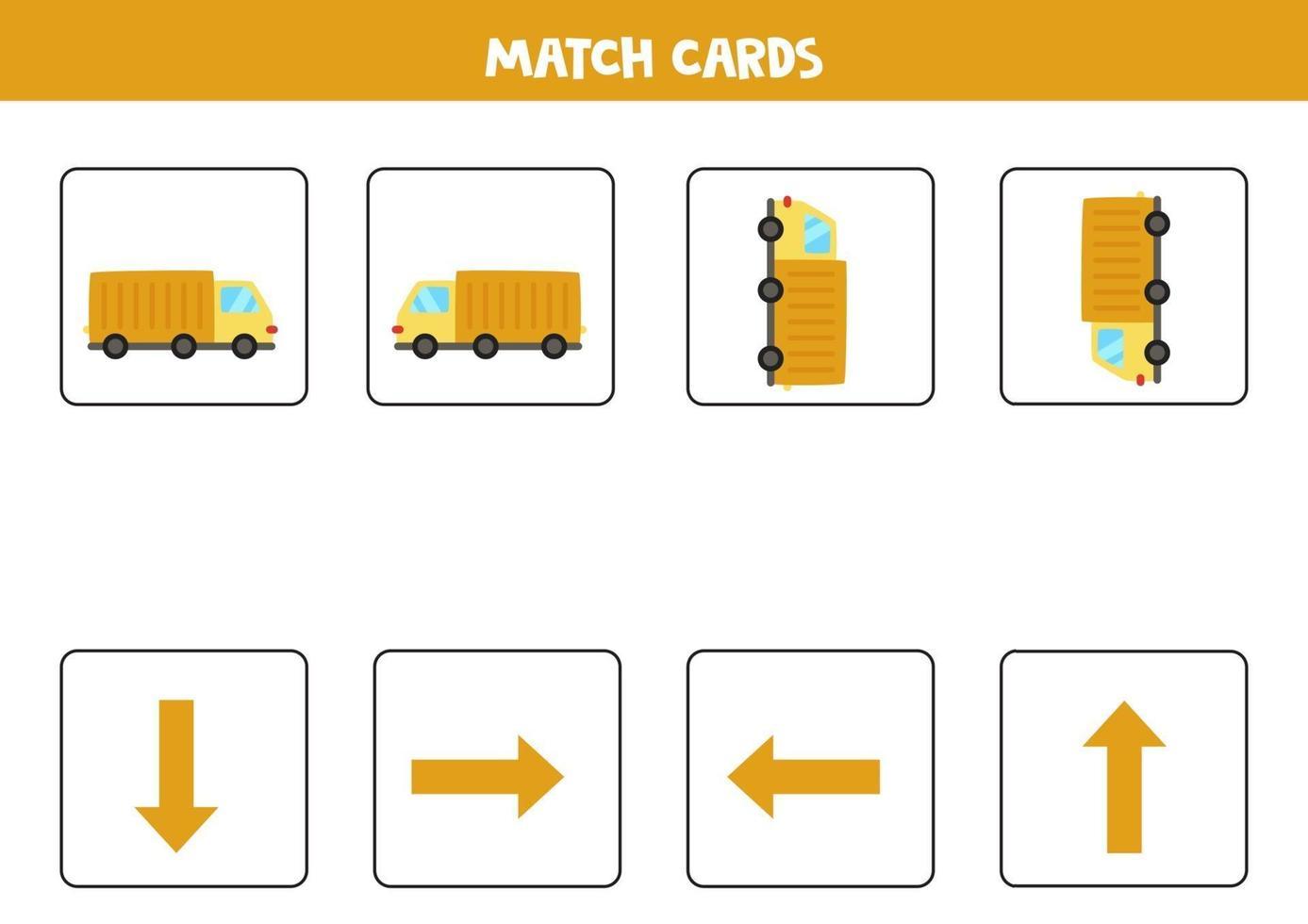 vänster, höger, upp eller ner. rumslig orientering med tecknad lastbil. vektor