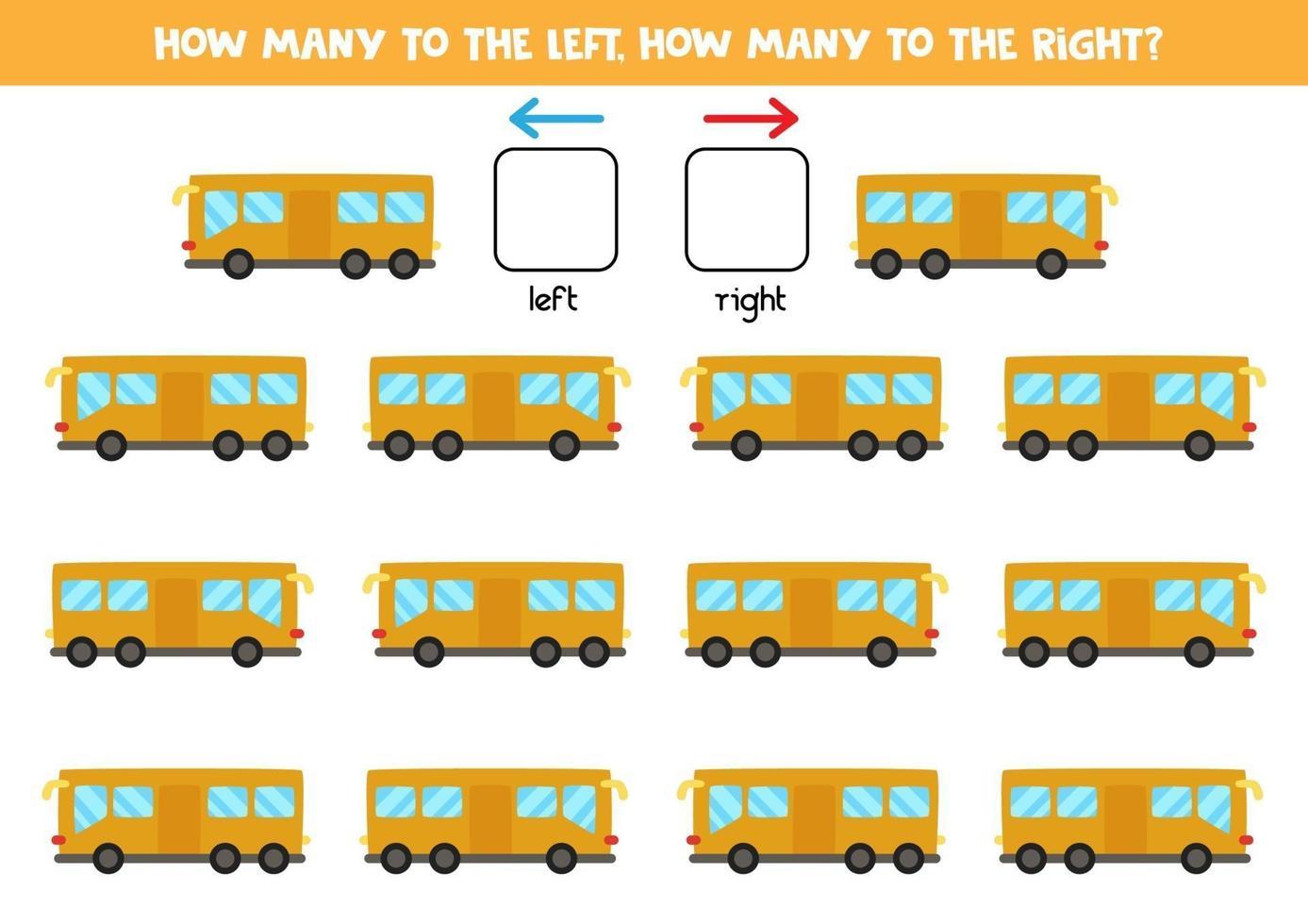 vänster eller höger med buss. logiskt kalkylblad för förskolebarn. vektor