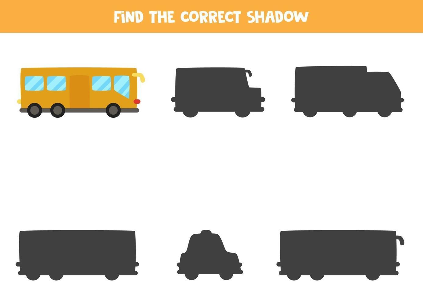 hitta rätt skugga av stadsbuss. logiskt pussel för barn. vektor