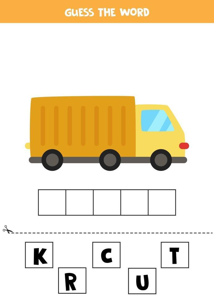stavningsspel för förskolebarn. tecknad lastbil. vektor