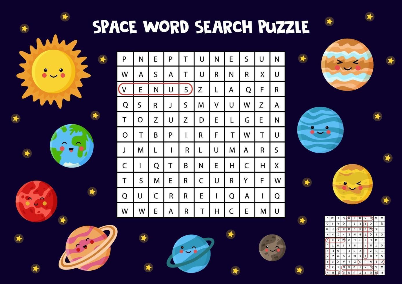 rymdtema sökpussel. hitta alla planeter. vektor