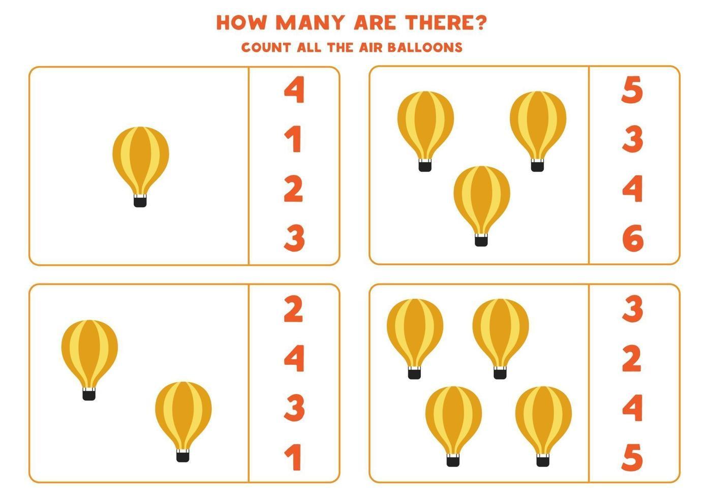 matematikspel. räkna alla luftballonger. spel med transporttema. vektor