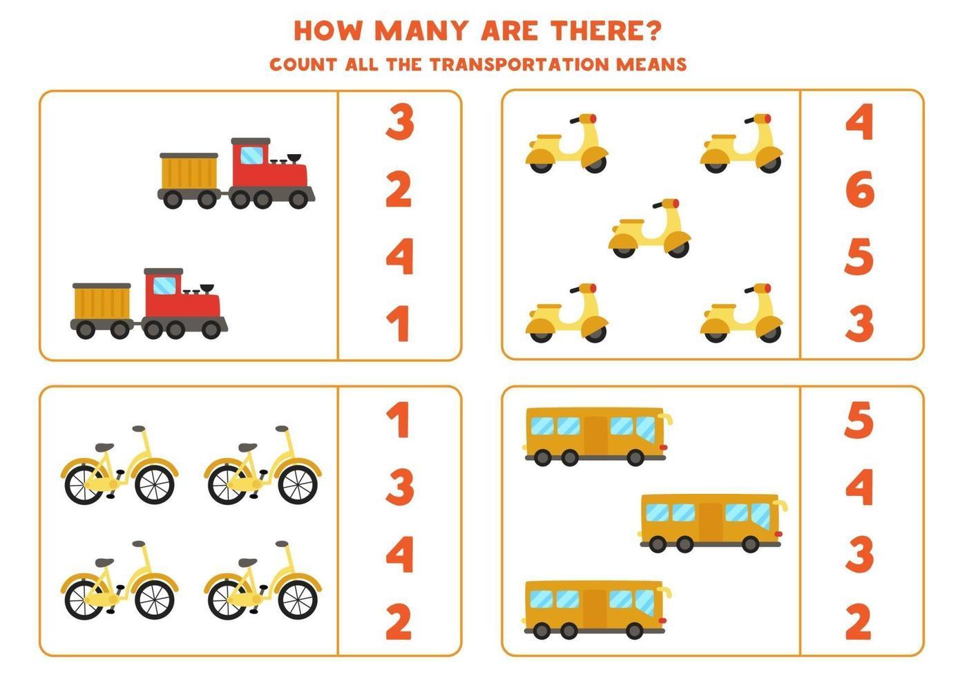 matematikspel. räkna alla transportmedel. spel med transporttema. vektor