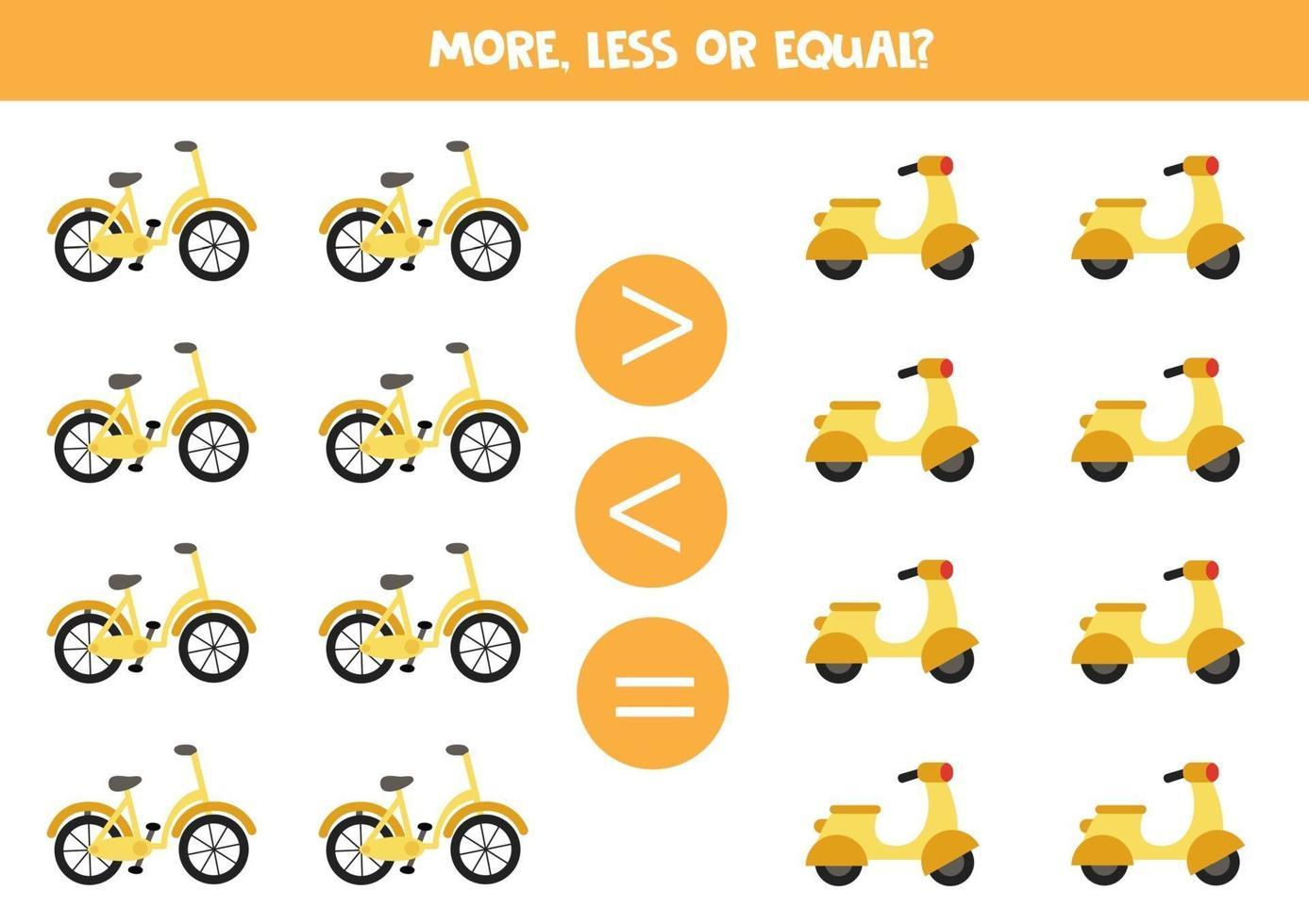 mer, mindre, lika med tecknad cykel och moped. pedagogiskt arbetsblad vektor