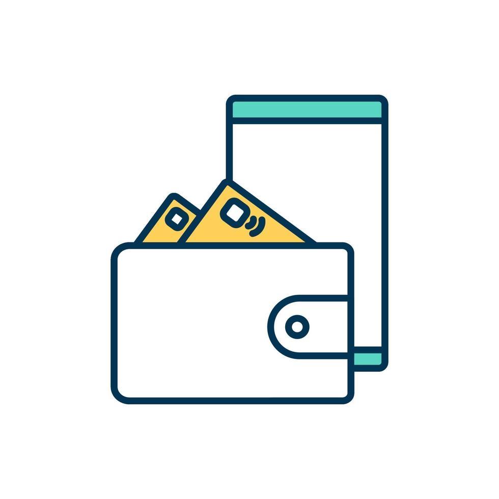 mobil betaltjänst färgikon vektor