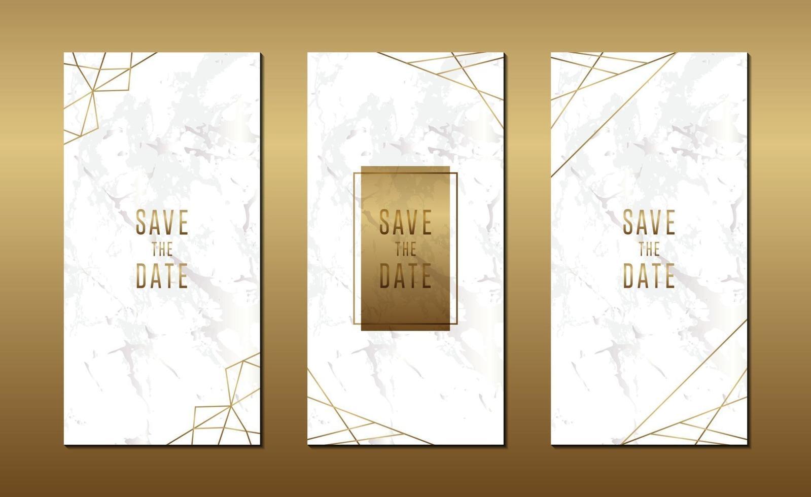 minimalistisk bröllopinbjudningskort med marmor och geometrisk linjemall vektor