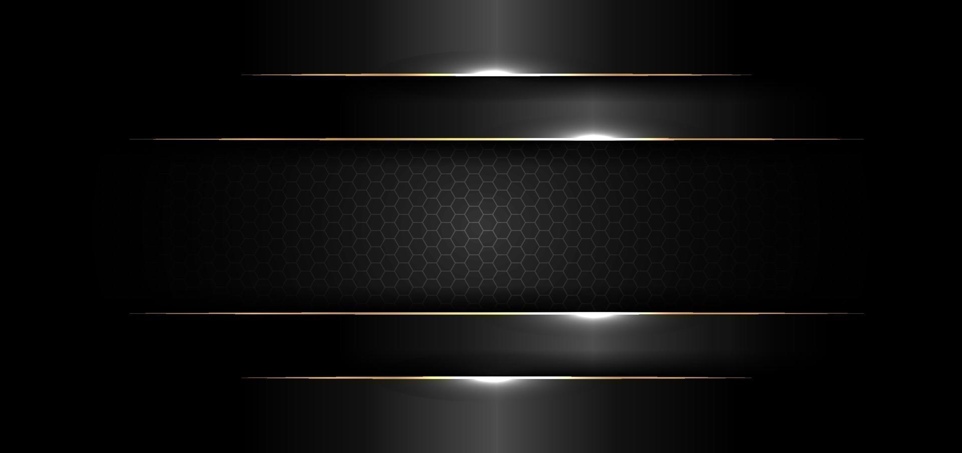 abstrakt banner designmall svart blank med guldlinje och ljuseffekt på mörk bakgrund och konsistens vektor
